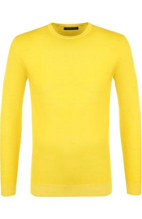 Однотонный джемпер из шерсти меринос Daniele Fiesoli желтый | Фото №1