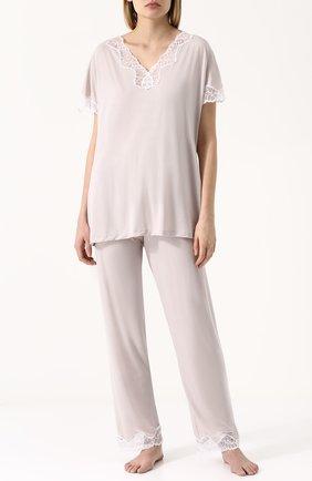 Пижама из смеси вискозы и шелка с кружевной отделкой | Фото №1