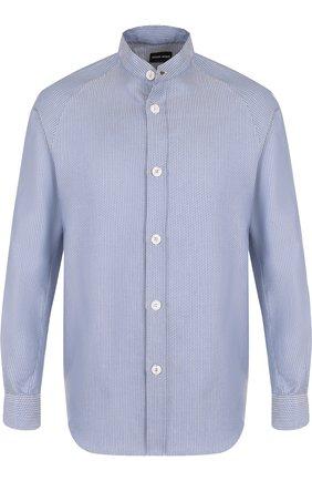 Мужская хлопковая рубашка с воротником стойкой GIORGIO ARMANI синего цвета, арт. WSC6LT/WS29C | Фото 1
