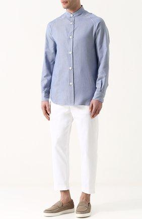 Мужская хлопковая рубашка с воротником стойкой GIORGIO ARMANI синего цвета, арт. WSC6LT/WS29C | Фото 2