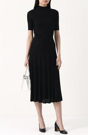Однотонное приталенное платье-миди Casasola черное | Фото №1