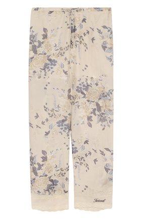 Шелковые брюки свободного кроя с принтом на кулиске | Фото №1
