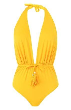 Однотонный слитный купальник с драпировкой Lazul желтый | Фото №1
