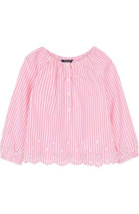 Детское хлопковая блуза свободного кроя с вышивкой и фестонами POLO RALPH LAUREN розового цвета, арт. 312688391 | Фото 1