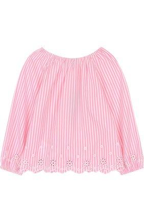 Детское хлопковая блуза свободного кроя с вышивкой и фестонами POLO RALPH LAUREN розового цвета, арт. 312688391 | Фото 2