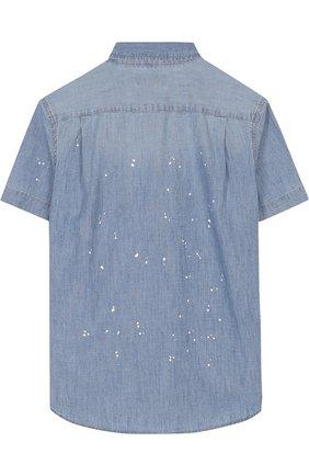 Детская джинсовая рубашка с принтом POLO RALPH LAUREN синего цвета, арт. 323691585 | Фото 2 (Рукава: Короткие; Статус проверки: Проверена категория; Материал внешний: Хлопок; Принт: С принтом; Случай: Повседневный)