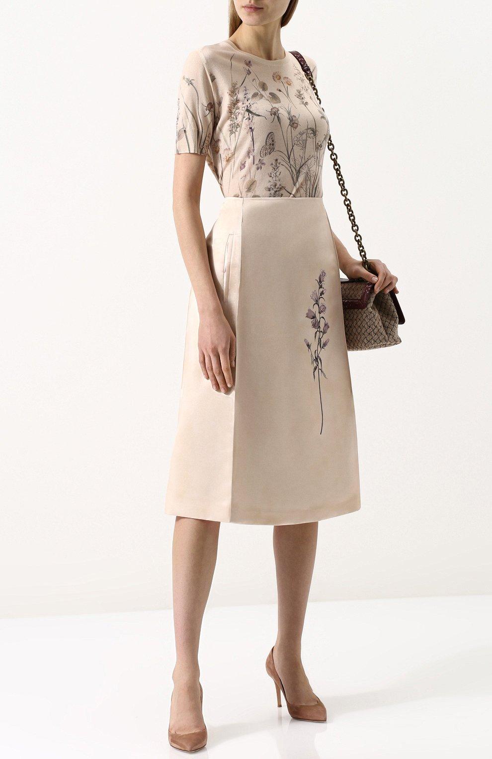 a82cc527f71 Женская бежевая расклешенная юбка-миди с цветочным принтом BOTTEGA ...