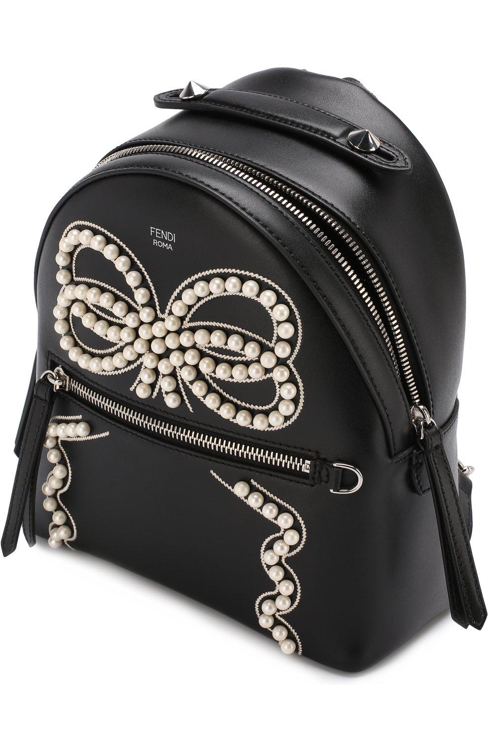 Рюкзак из кожи с жемчужной отделкой | Фото №4