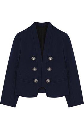 Хлопковый пиджак с шалевыми лацканами и декоративными пуговицами | Фото №1
