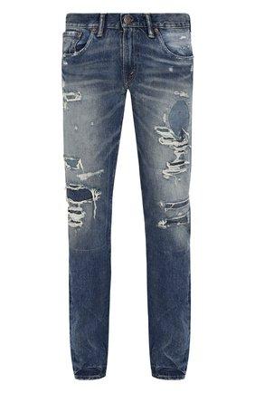 Мужские джинсы прямого кроя с потертостями RRL синего цвета, арт. 782677726 | Фото 1