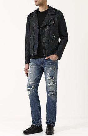 Мужские джинсы прямого кроя с потертостями RRL синего цвета, арт. 782677726 | Фото 2