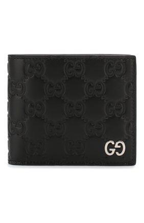 Мужской кожаное портмоне signature GUCCI черного цвета, арт. 473916/CWC1N | Фото 1
