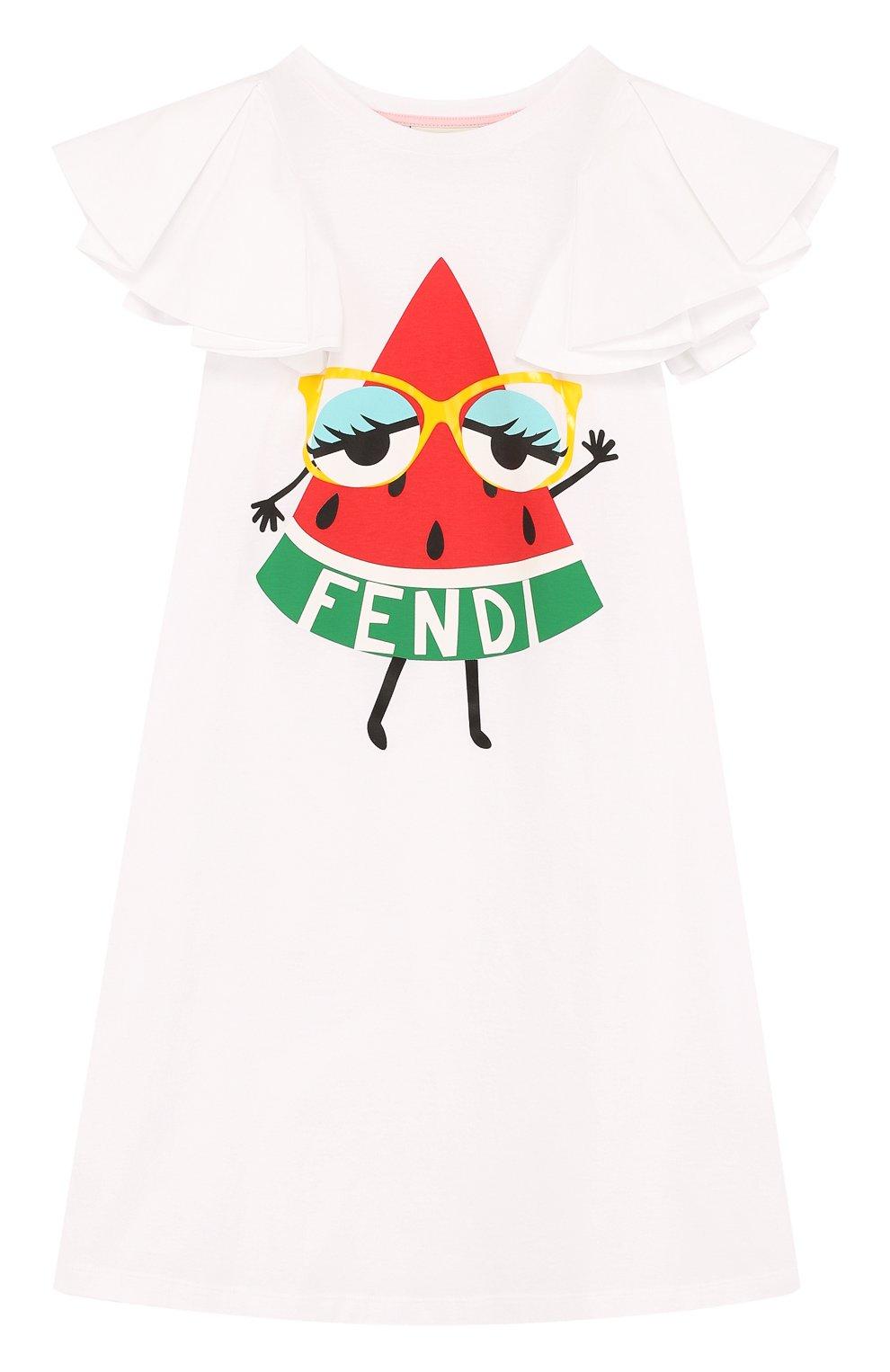 Детское хлопковое мини-платье а-силуэта с принтом и оборками FENDI белого цвета, арт. JFB168/7AJ/6A-8A | Фото 1
