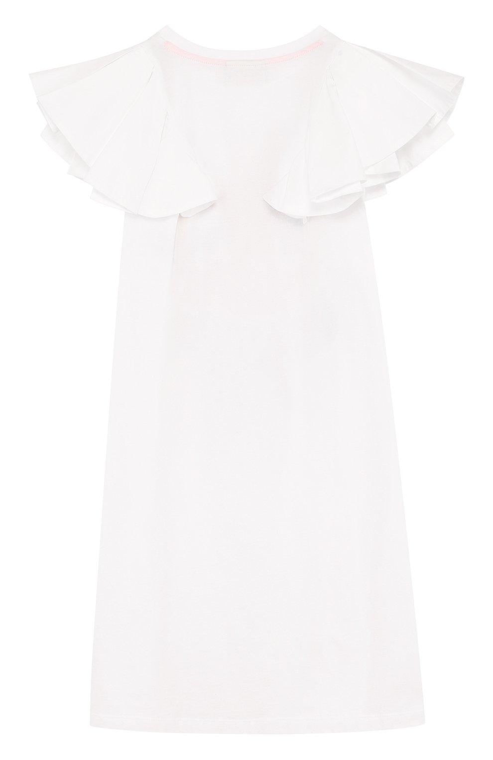 Детское хлопковое мини-платье а-силуэта с принтом и оборками FENDI белого цвета, арт. JFB168/7AJ/6A-8A | Фото 2