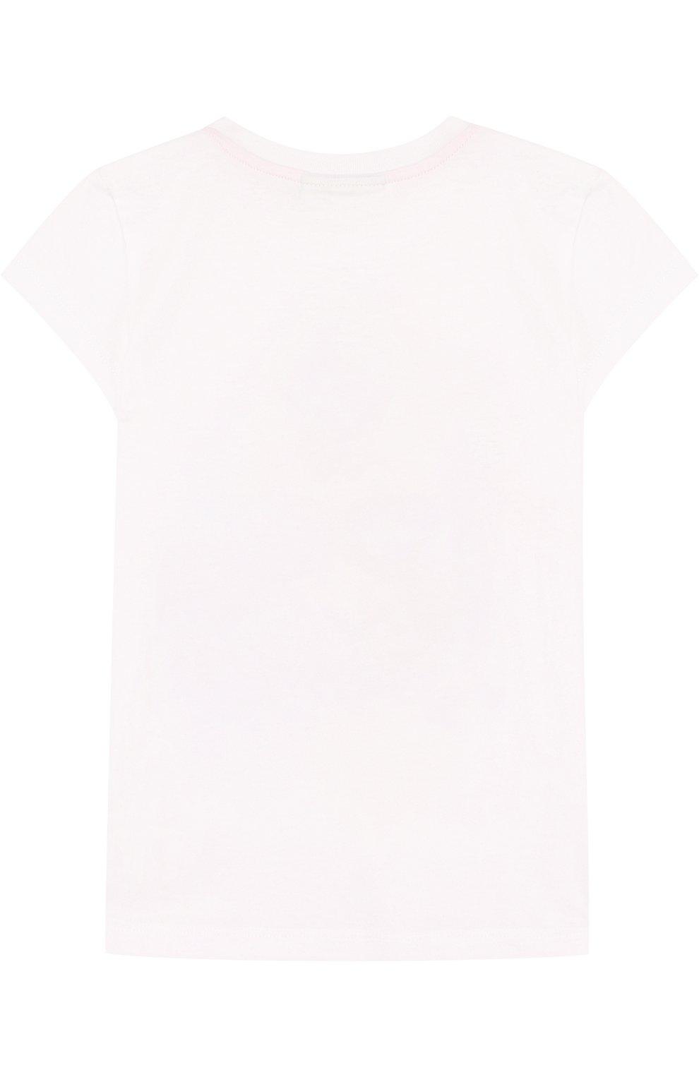 Детская хлопковая футболка с принтом FENDI белого цвета, арт. JFI109/7AJ/2A-5A | Фото 2