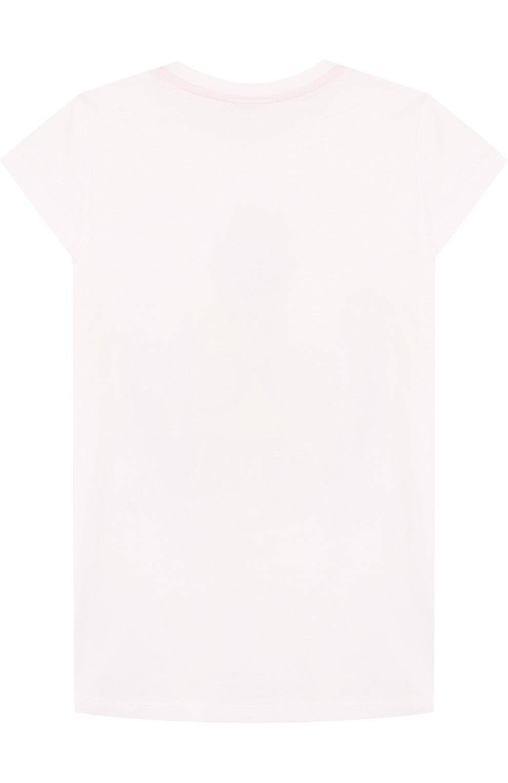 Детская хлопковая футболка с принтом FENDI белого цвета, арт. JFI109/7AJ/6A-8A | Фото 2