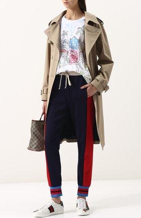 Женские кожаные кеды ace с вышивкой GUCCI белого цвета, арт. 431917/A38G0 | Фото 2