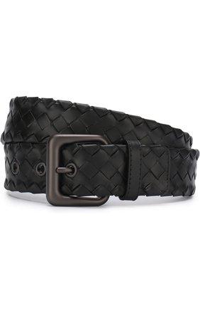 Мужской кожаный ремень с плетением intrecciato BOTTEGA VENETA черного цвета, арт. 288187/VQ124 | Фото 1