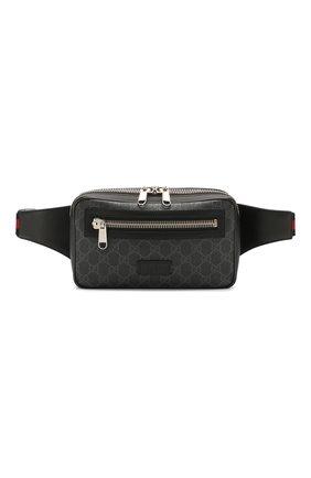 Мужская поясная сумка gg supreme GUCCI черного цвета, арт. 474293/K9RRN | Фото 1