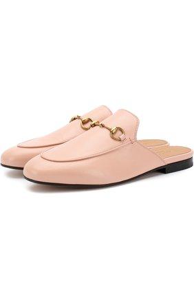 Женские кожаные сабо princetown GUCCI розового цвета, арт. 423513/C9D00 | Фото 1