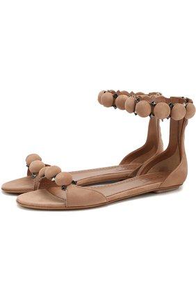 Замшевые сандалии с декором | Фото №1