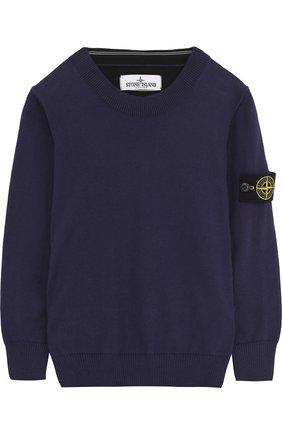 Хлопковый пуловер с нашивкой   Фото №1