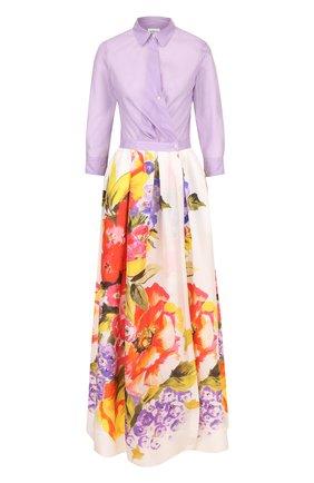Приталенное платье-рубашка с принтованной юбкой | Фото №1
