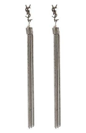 Женские серьги с подвесками-цепочками SAINT LAURENT серебряного цвета, арт. 506030/Y1614   Фото 1