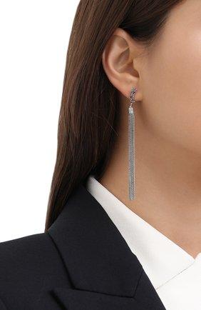 Женские серьги с подвесками-цепочками SAINT LAURENT серебряного цвета, арт. 506030/Y1614   Фото 2