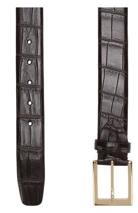 Ремень из кожи крокодила с металлической пряжкой Dami темно-коричневый | Фото №1