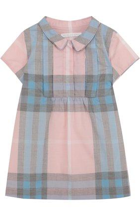 Женский хлопковое мини-платье с принтом BURBERRY разноцветного цвета, арт. 4066822   Фото 1
