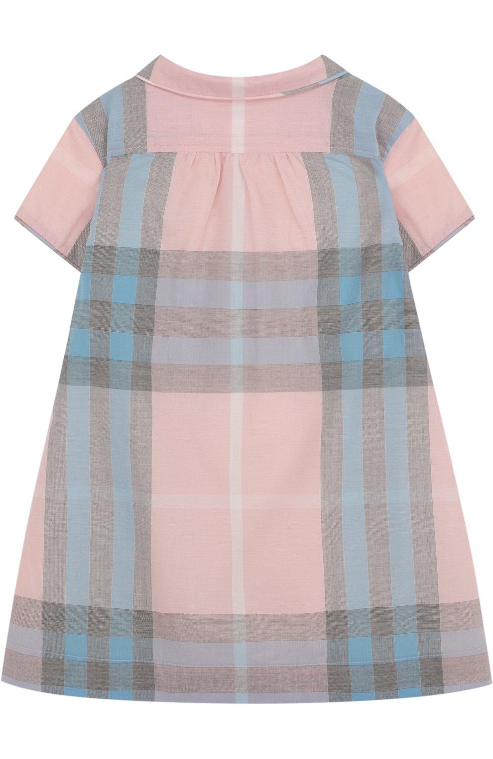 Женский хлопковое мини-платье с принтом BURBERRY разноцветного цвета, арт. 4066822   Фото 2