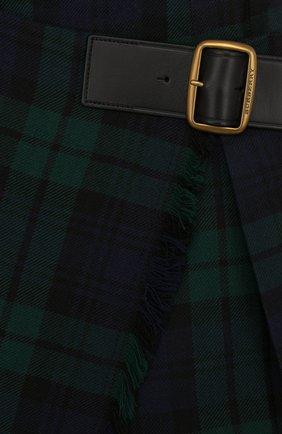 Шерстяная мини-юбка в клетку асимметричного кроя   Фото №3
