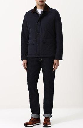 Стеганая куртка на молнии с отложным воротником Bogner темно-синяя | Фото №1