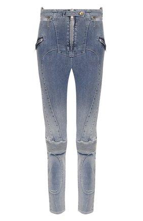 Укороченные джинсы-скинни с потертостями   Фото №1