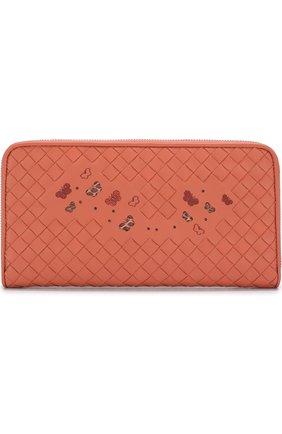 Кожаный кошелек с принтом и плетением intrecciato | Фото №1