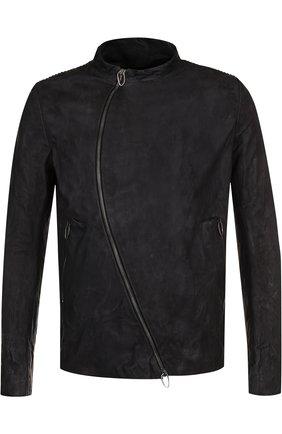 Кожаная куртка с косой молнией и воротником-стойкой | Фото №1