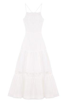 Приталенное однотонное платье-миди | Фото №1
