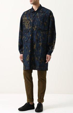 Удлиненная рубашка из смеси льна и хлопка Oamc разноцветная | Фото №1