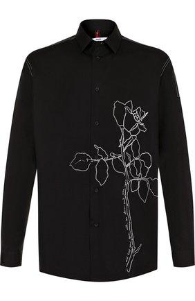 Хлопковая рубашка с вышивкой Oamc черная | Фото №1