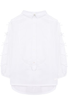 Хлопковая блуза прямого кроя с бантами | Фото №1
