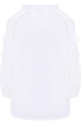 Хлопковая блуза прямого кроя с бантами | Фото №2
