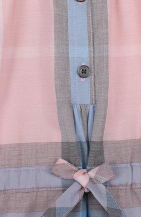 Женский хлопковое мини-платье с принтом на кулиске BURBERRY разноцветного цвета, арт. 4066846 | Фото 3