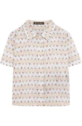 Льняная блуза прямого кроя с принтом | Фото №1