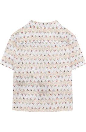Льняная блуза прямого кроя с принтом | Фото №2