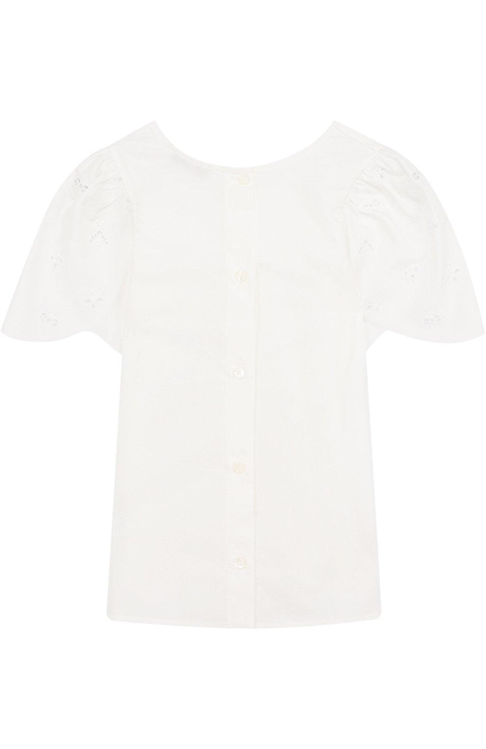Блуза свободного кроя из смеси хлопка и шелка | Фото №2