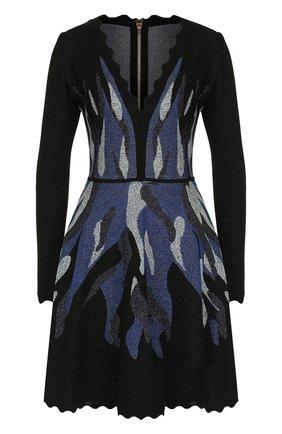 Приталенное мини-платье с длинным рукавом Elie Saab темно-синее | Фото №1