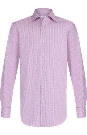 Мужская хлопковая сорочка с воротником кент KITON розового цвета, арт. UCIH0636810000 | Фото 1
