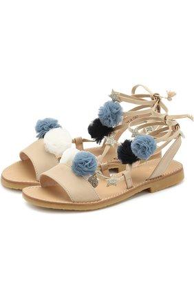 Кожаные сандалии с помпонами | Фото №1