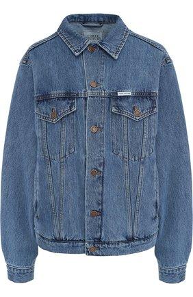 Джинсовая куртка с потертостями и декорированной спинкой | Фото №1